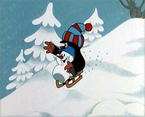 Мультфільм про дружбу крота та сніговичка.