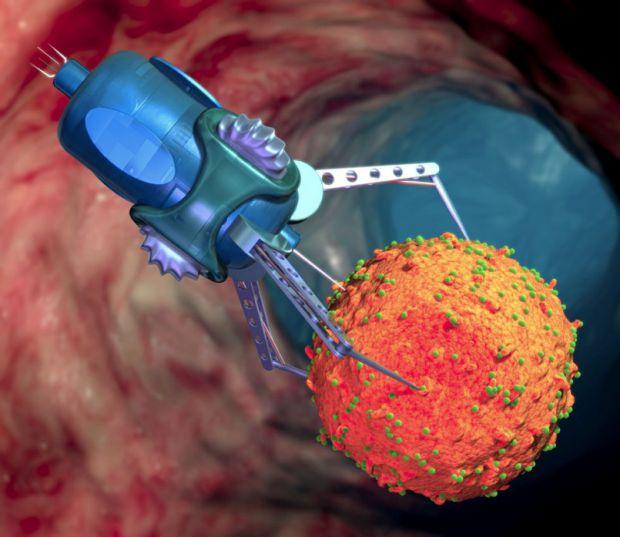 Вчені створили нанороботів, які вміють ідентифікувати і знищувати ракові клітини в лічені години. Роботи, складені з молекул ДНК, тромбируются кровоно