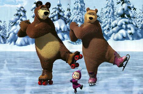 Маша разом з Мішею на ковзанах.