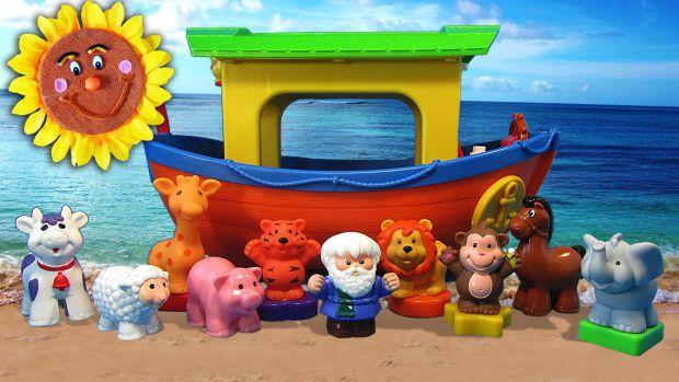 Потоп. Ною потрібно терміново рятувати тварин. Він звертається за допомогою до маленького глядача і просить його допомогти посадити всіх тварин на кор