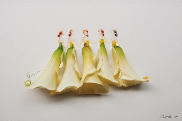 Lim Zhi Wei - художниця, яка поєднала моду та флористику. І варто зауважити - вийшло це в неї просто чудово!