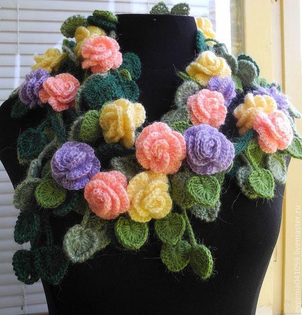 Вязание крючком шарфы цветочные 24