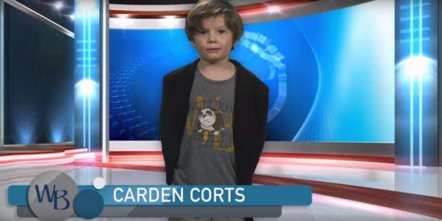 Американський хлопчик Карден Кортс зняв незвичайне відео для дитсадка, в якому розповідає про прогноз погоди.