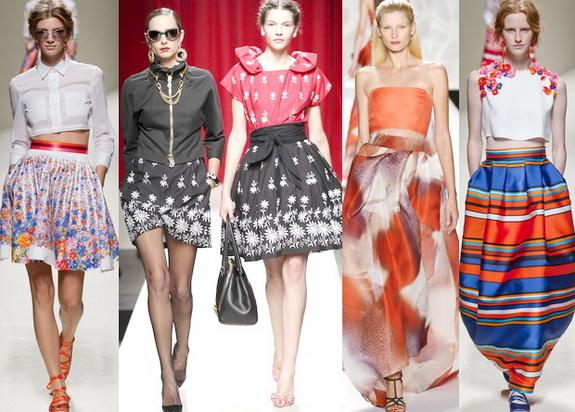 Для спідниць сезону весна-літо 2014 характерний асиметричний крій, модними будуть спідниці з високою талією, спідниця-плісе і